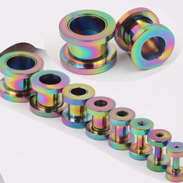 Stainless steel 100pcs lot F05 screw rainbow ear flesh tunnel piercing body piercing jewelry