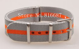 Wholesale-1PCS High quality 18MM &2gray-orange&Nylon Watch band NATO straps waterproof watch strap