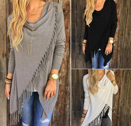 Wholesale Europe Long Sleeve T shirt Sexy Tank Tops for Women T shirts Tassel Women Clothes Dresses for Womens New Hot Women s Fringe Cardigan