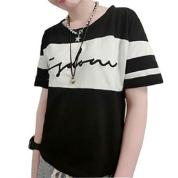 New 2016 Womens Top Letter Printed T shirt Contrast color Loose style short sleeve Tee Ladies Tshirt Black White tee shirt femme