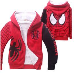 Wholesale Cartoon Deck - 1 Piece Lot Brand New Spider-Man Kids Winter Coat Jacket Cartoon Coral Velvet Double-Deck Children's Hoodies & Sweatshirts 2 color