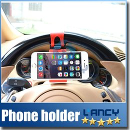Wholesale for iphone plus S S Universal Car Streeling Steering Wheel Cradle Holder SMART Clip Car Bike Mount for Mobile Cell Phone GPS free DHL