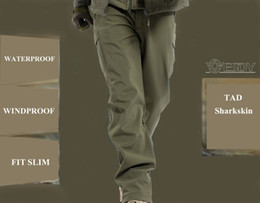 Wholesale Winter TAD Shark Skin Mens Soft Shell Military Outdoors Pants Waterproof Sport Thermal Fleece Hiking Camping Tactical Trousers
