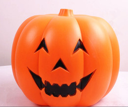 Wholesale Feasts pumpkin acoustic control Voice cont LED Halloween lamp new pumpkin barrels smiling face with light place adorn bar stores to dress up