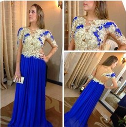 Royal Blue Charming Evening Dresses 2016 See Through Back Applique Long Sleeves Chiffon Prom Gowns Custom made