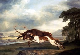 Wholesale A Hound Attacking A Stag by George Stubbs oil Painting Canvas Wall Art High quality Hand painted