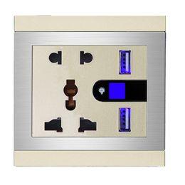 Wholesale Mutifunction hole V A Dual USB Wall Socket Flame Retardant PC Universal Socket With LED Light For iPhone iPod iPad Tablets