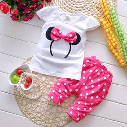 Wholesale new Kids Babys Clothes for girls sets summer cotton bow T shirt dot pants sets Outfits Sets clothes EE
