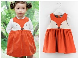 Wholesale PrettyBaby Spring Sweet Toddler baby girl fox dress orange fox costume Princess vest Dress kids cute Christmas Dress sleeveless the_one