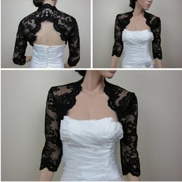 Black Lace 3 4 Sleeve Bolero Jacket Shrug Wedding Wraps Keyhole Back Evening Party Shawl 2015