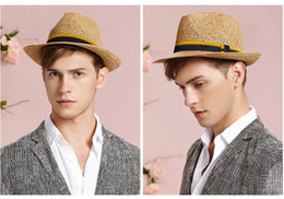 Wholesale-straw and linen hand made woven men or women fashion black hat curling ceremony wide brimmed Jazz summer sun cap accessories
