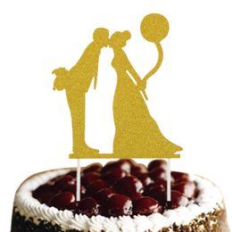 Customized Wedding Cake Topper Bride Groom Glittler Cake Flags Wedding Engagement Party Cake Baking Decor Bridal Flags