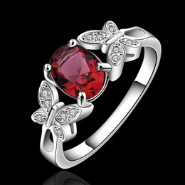 Wholesale The Ring Anel Silver Plated Trendy Red Champagne Crystal Fashion Jewelry Engagement Wedding Butterfly Rings For Women LKNSPCR648