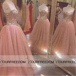 Wholesale Eye Catching Long Ball Gowns Sweetheart Crystals Beads Floor Length Masquerade Formal Dresses Pink Tulle Evening Dress