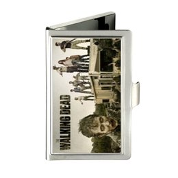 Wholesale the walking dead zombies Custom Unique Business Card Holder Pocket Wallet Name ID Credit Case Stainless Steel Box Case