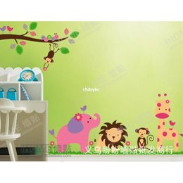 Wholesale bedroom decoration three generations wall stickers cartoon sticker jungle party room nursery children room sticker JM7126