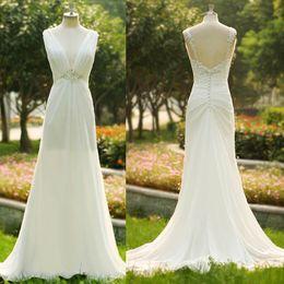 Latest Style Charming Beaded Lace Chiffon Beach Wedding Dresses V-Neck Sleeveless Chiffon Long Floor Length Bridal Gowns Custom Made