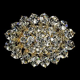 Zinc Alloy Beautiful Fashion Rhodium Silver Gold Plated CZ Clear Crystal Rhinestone Large Size Flower Brooches and Pins