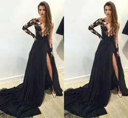 Sexy Sheer Jewel Neckline Black Split Evening Dresses Illusion Long Sleeves Sweep Train Prom Party Pageant Dresses BA1611