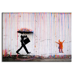 Wholesale Banksy Art Life colorful rain living room Abstract Figure Oil Painting Hand painted On Canvas Modern Wall Home Decor Pictures
