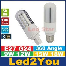 E27 ce smd en Ligne-G24 E27 led ampoules de 360 degrés haute puissance 9W 12W 15W 18W SMD 2835 Led maïs Lumières AC 85-265V CE UL CSA