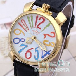 Wholesale New Casual Mechanical Auto Men Women Watch Colorful Big Numbers Gold Case Watches Sport Unisex Wristwatch Winner