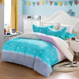 Wholesale fresh Aqua colored Geometric printed bedding set for girls home decor full queen size bed covers sheets cotton bedspread linens