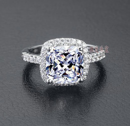 Wholesale US GIA Certificate SONA Diamond Drill Three Generations IJ color carats Platinum plated Sterling Silver Women Wedding Or Engagement Ring