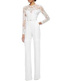Wholesale 2015 White Long Sleeve Evening Dresses Lace Embellished Jumpsuit Jasmine sash zipper dress Evening formal Dresses