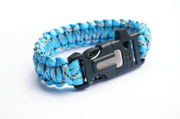 Paracord Bracelet Outdoor Camping Flint Fire Starter Scraper Whistle Gear Survival Paracord Bracelet Rope Self-rescue Kit 4 in 1 Blue Cam