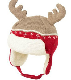 Wholesale Earfl boys hat elk-horns kids Fall and Winter hat Santa Claus 100% cotton baby hat handmade knitted Christmas baby Jacquard cap
