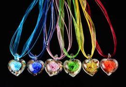 wholesale 6pcs handmade mix color Italian venetian Transparent Heart Flower 3D Lampwork murano glass pendant 3+1 silk necklaces nl0182m*6