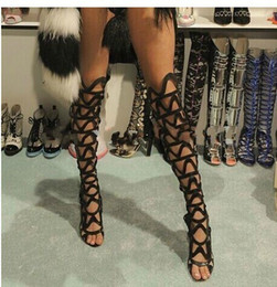 Fashion Design Over High Knee Women Boots Shoes Summer Gladiators Pumps Thigh High Boots Mesh Open Toe Ladies Party Boots