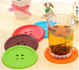 Free shipping 1000pcs round silicone coasters cute button coasters Cup mat Home Drink Placemat Tableware Coaster