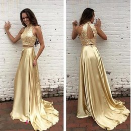 Gold Two Pieces Evening Dresses High Collar Beading Backless A line Satin Prom Dress Custom made Formal Party Dress