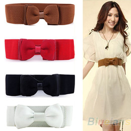 Wholesale Fashion Women Lady Wide Elastic Stretch Bowknot Bow Tie Belt Solid Colored Waistband For Dresses Clothes Gift