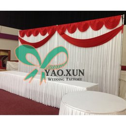 Free Shipping White Color Wedding Backdrop Curtain Include Top Swag And Drape