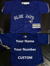 Wholesale cheap custom Toronto Blue Jays Donaldson Personalized Team Color Blue Preschool Toddler Jerseys Blue Jays Baby Jersey Shirts size s l
