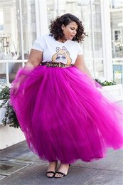 fushia Tutu Tulle Plus Size Skirts High Waist Ankle Length Long Women Skirts Personalized Puffy casual Party Dresses Evening Gowns