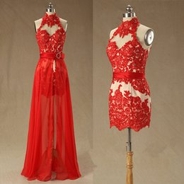 Sexy Red Prom Dresses Backless High Neck Detachable Train Beaded Lace Chiffon 2019 Popular Party Gowns Custom Made P164
