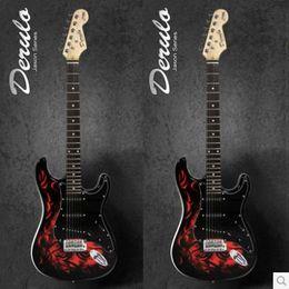 De alta calidad 2014 Nueva ST guitarra de color dibujo o patrón Llama rojo jue desde guitarras llama roja proveedores