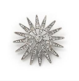 Vintage Look Silver Tone Rhinestone Crystal Diamante Star Flower Bouquet Brooch