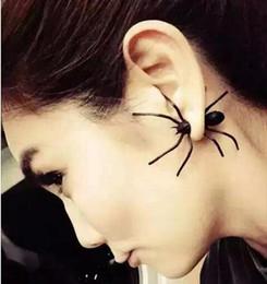 Araignées noires à vendre-Discothèques exagérées de la personnalité de la mode punk surdimensionné boucles d'oreilles en araignée noir mat boucles d'oreilles boucles d'oreilles en or mat