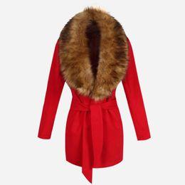 Wholesale Woman Clothes Autumn Winter Coat Big Fur Collar Elegant Long Outwear Bow Belt Long Sleeve Warm Winter Wool Coat LQ8888C