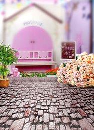 2017 bébé toiles de fond la photographie de vinyle 200cm * 150cm Fond Brick Floor Flower Pink House baby Ensemble de fond d'écran vinyle enfant pour la photographie bébé toiles de fond la photographie de vinyle à vendre