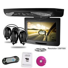 Wholesale 11 quot Black Color Car Roof DVD Roof Monitor DVD Flip Down Car DVD with Built in IR FM Transmitter IR Headphones Grey Beige Optional