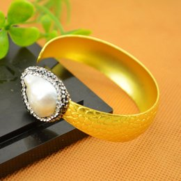 Finding ~ 5pcs Gold Plated Rhinestone Crystal Bangles , Druzy Pearl Charms Bangle Bracelets