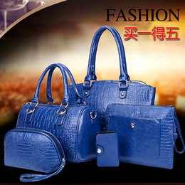 Wholesale Large Piece Artwork - 2015 women's handbag 5 pieces set for Crocodile handbag one shoulder cross-body bags large