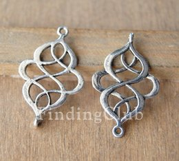 Wholesale-Free Shipping! 50pcs 18x28mm Antique Silver and Bronze Alloy Chinese Knot Connector Link Charms