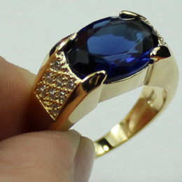 Men's Blue Sapphire Gemstone 10KT Yellow Gold Filled Ring